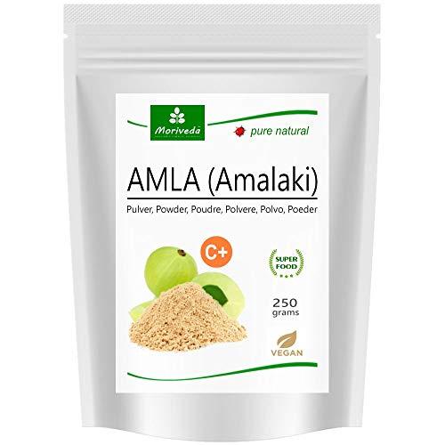 MoriVeda® Amla Pulver 250g I Die Vitaminbombe aus Amlabeeren für Immunsystem, Haut, Haare & Verdauung in natürlicher Ayurveda Spitzen-Qualität I Vegan & Glutenfrei I 250g Zip-Beutel