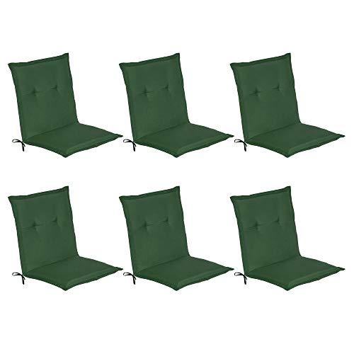 Beautissu Niederlehner Gartenstuhl Auflagen 6er Set Loft NL Gartenstuhlauflage 100x50 m Sitzkissen für Niedriglehner Sitzpolster Stuhlkissen Dunkelgrün