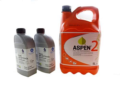 Aspen 5L 2-Takt Alkylatbenzin mit 2x1L Bio Kettenöl
