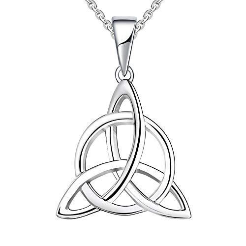 JO WISDOM Damen Kette Irischer Triquetra Keltischer Knoten Silber 925 Halskette Anhänger (Farbe Weißgold)