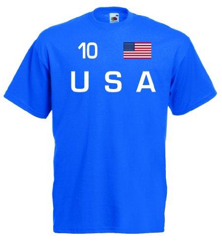 world-of-shirt Herren T-Shirt USA Trikot Fan Shirt Nr.10|rb-l