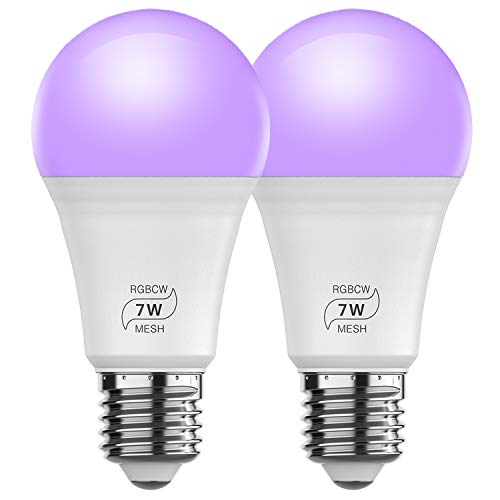 Bluetooth Smart Light Bulb, HaoDeng Smartphone App Control, A19 E26 7w (60w Equivalent) Multicolor White Dimmable Light Bulb (2Pack)