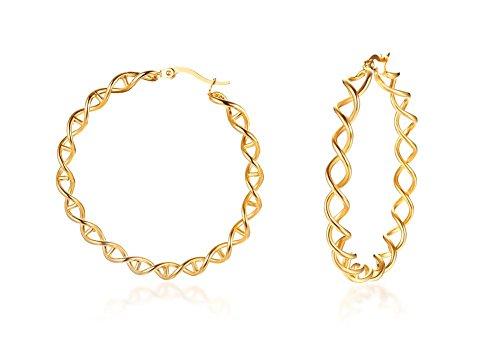 VNOX Chapado en Oro de Acero Inoxidable Grande Torcido Doble Espirales Bobina Hueco Aro Pendientes Para Mujer Niña