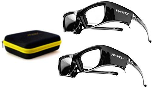 2X Hi-SHOCK RF / BT Pro Black Diamond & Dualcase | Aktive 3D Brille für EPSON 3D Beamer | komp zu ELPGS03, TW9200W, EH-TW9200, EH-TW9100W, EH-TW8100, EH-TW7200 [120 Hz wiederaufladbar]