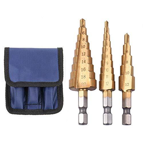 W-SHTAO 3pcs HSS Metric 1/4 Hex Shank Titanium Coated Step Drill Bit Cutting Tool Metal Sharpener Drill Bit Set Cone