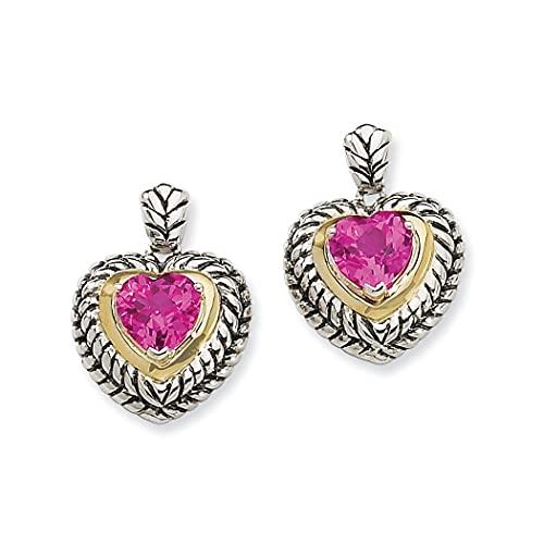 Pendientes de plata de ley 925 con 14 quilates de 8 mm de zafiro rosa creado en forma de corazón para mujer