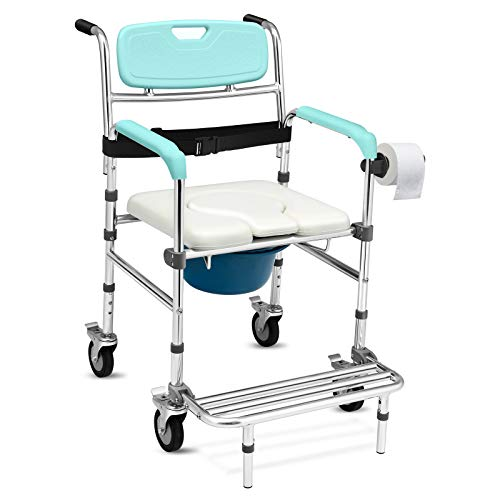 Giantex 3 in 1 Lightweight Shower Commode Wheelchair, Transport Bedside Commode with Wheels, Wheelchair Height and Pedal Adjustable, Shower Wheelchair for Elder, Disabled People (Turquoise & White)