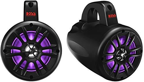 BOSS Audio Systems B40RGB ATV UTV Weatherproof Waketower Speaker System - Amplified, 4 Inch, Full Range, 2 Way, Bluetooth, RGB Led Illumination, IPX5 Rated Weatherproof, Sold in Pairs