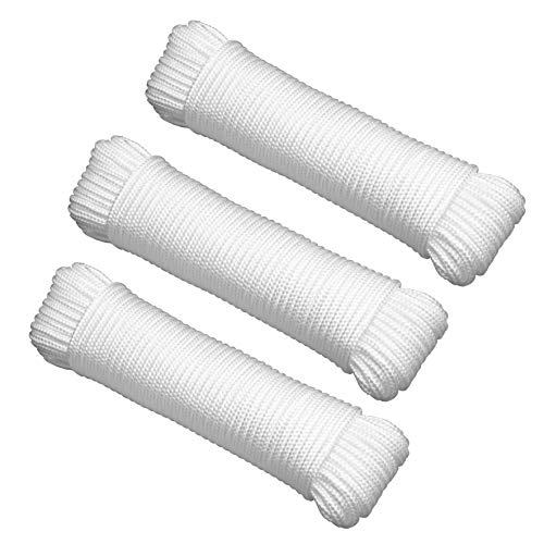 """Gardzen 3-Pack 100' x φ1/4"""" Polypropylene Rope Sollid Braided Poly Rope Rope - for Multiple Usages, Flagline, Clothesline, Camping Tent, Canoes, Tree Work, Knot and Tie(100' per Rope)"""