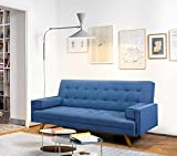 Furmax Futon Sofa Bed Modern Fabric Folding Couch Bed Multi-Function Convertible Sleeper Sofa for Living Room (Blue)