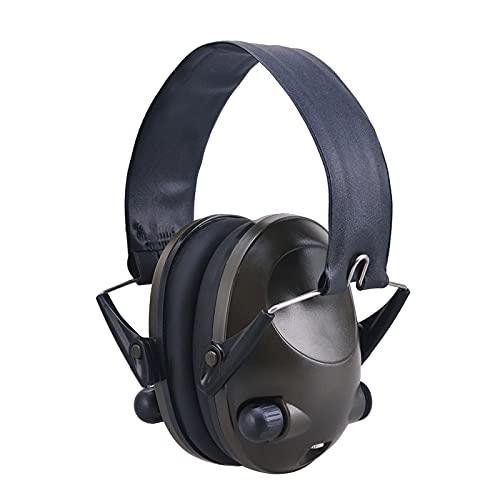 MERIGLARE Auriculares de Plegables Casco Transpirable Reducción de Ruido Operado por batería Orejeras de Recogida de Sonido para Radio Actividades de - Verde