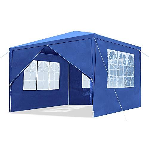 LZQ 3x3M Garten Pavillon Blau Wasserdicht UV Schutz Festzelt mit 4 Seitenteilen für Garten Terrasse Markt