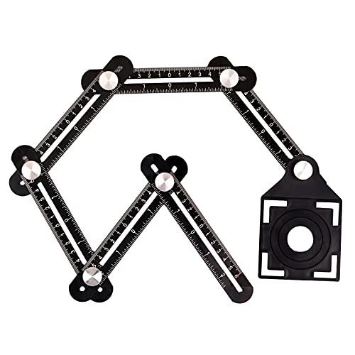 Regla de Medición de ángulos Herramienta de Plantilla, Aleación de Aluminio Plegable Multi Angulo Regla de Medidas para Artesano, Constructor, Carpintero, Arquitecto