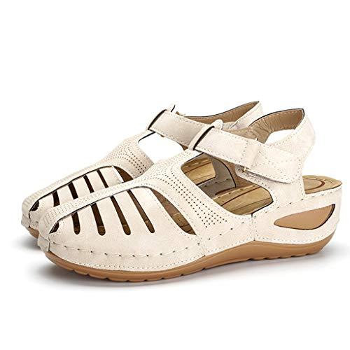 BOLUOBAO Sandalias de Mujer Verano Baratas Retro Comercio Ligero Suave Zapatos Casuales de Cuero con Cabeza Redonda Comodas Casual Blanco En Ofertas Romanas Retro 20210323