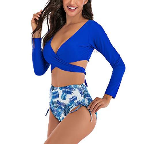 LOPILY Bikini Set Damen Langärmelig Bikinis Zweiteilig High Waist Bademode für Dicken Bauch Push Up Badeanzug mit Blumendruck Gekreutzte Bänder Strandkleidung UV Durchlässige Strandmode (Blau, L)
