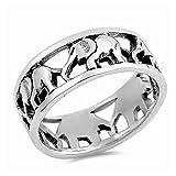 Gemlings Anillo de plata fina [Elefante] | Regalo de la joyería linda para las mujeres