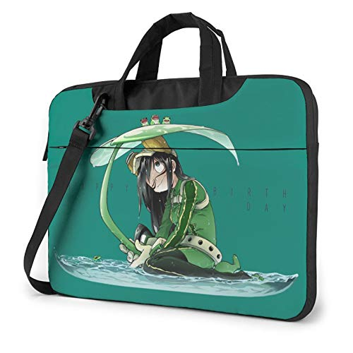 My Hero Academia Tsuyu Asui 14 Inch Multi-Functional Shockproof Laptop Shoulder Messenger Bag Tote Bag with Adjustable Strap,Laptop Sleeve Bag for Tablet Chromebook 14 Inch