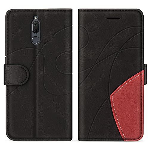 SUMIXON Hülle für Huawei Mate 10 Lite/Nova 2I, PU Leder Brieftasche Schutzhülle für Huawei Mate 10 Lite/Nova 2I, Kratzfestes Handyhülle mit Kartenfächern & Standfunktion, Schwarz