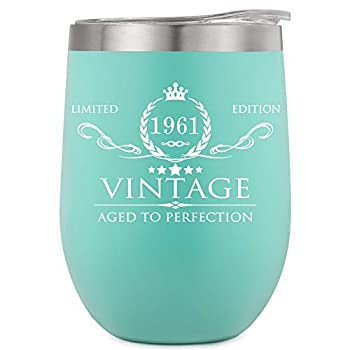 60th Birthday Gifts for Women Men Wine Tumbler - 12oz Mint Double Wall Vacuum Cup with Lid - Funny 60th Anniversary Gifts Idea Decorations for Her/Him Mom Dad Husband Wife