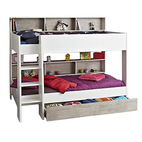 Jugendmöbel24.de Etagenbett Darius EN geprüft weiß inkl Bettkasten + Regale + Lattenrost-Bodenplatten Kinderzimmer Hochbett Doppelbett Kinderbett Stockbett