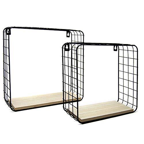 BAKAJI Set 2 Mensole da Parete Moderne Design Quadrato Mensola Scaffale Cubo Struttura in Metallo Nero Ripiano in Legno MDF Varie Dimensioni