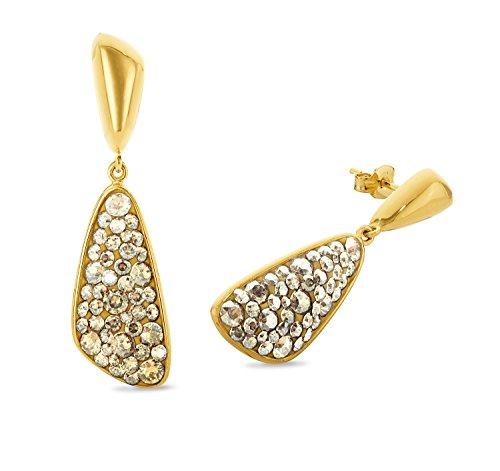 Noelani Damen-Ohrhänger gelbvergoldet veredelt mit Swarovski Kristallen 42 mm