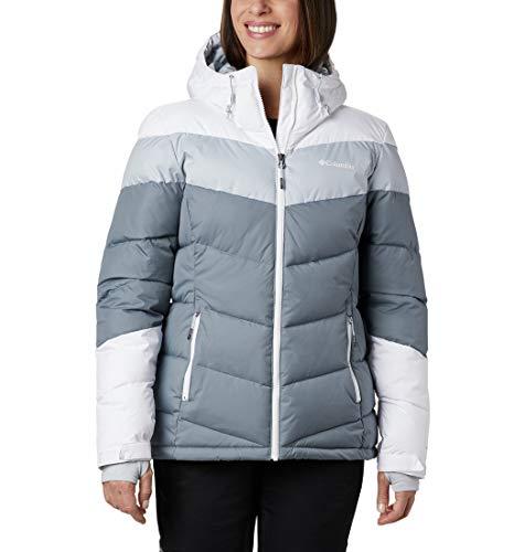 Columbia Damen Isolierte Skijacke, Abbott Peak,Grau/Weiß/Grau (Grey Ash/White/Cirrus Grey),L