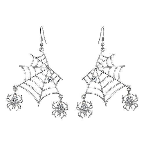 EVER FAITH Halloween Schmuck Damen Kristall Lebendige Spinne Spinnennetz Tier Haken Ohrringe Klar Silber-Ton