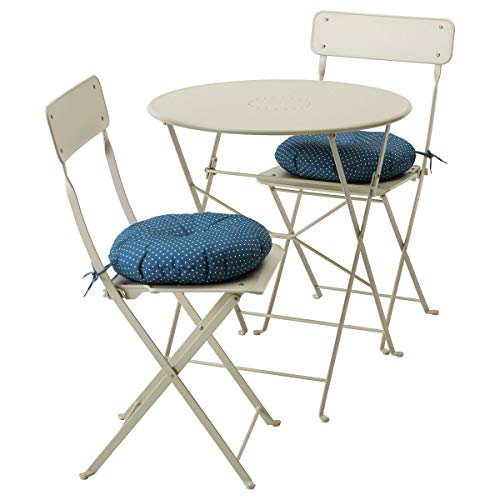 IKEA SALTHOLMEN Mesa+2 sillas plegables, color beige y azul Ytterön