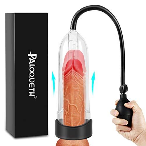 Penispumpen Sexspielzeug mit langlebiger Hülse für Penis Erektion Vergrößerung (Schwarz)