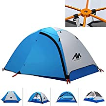 2 Person Backpacking Tent and Camping Tents, AYAMAYA Ultralight Waterproof Double Layer Easy Setup 3 Season 2 Doors Lightweight 2 Man People Backpack Tent for Hiking Fishing Motorcycle (Blue)