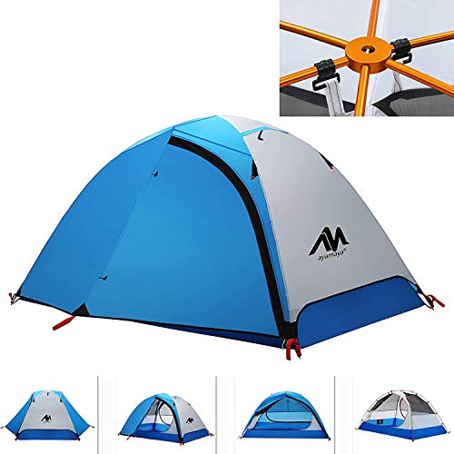 2 Person Backpacking Tent and Camping Tents, AYAMAYA Ultralight Waterproof Double Layer Easy Setup 3 Season 2 Doors Lightweight 2 Man People Backpack Tent for Hiking Fishing Motorcycle Bikepacking