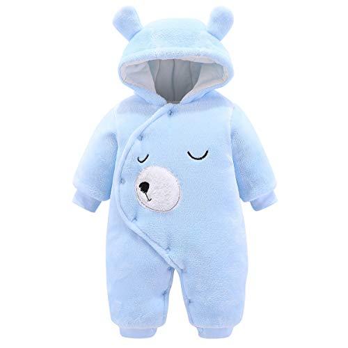 Borlai - Mono de Franela para bebé recién Nacido, para Invierno, con Dibujos Animados Mono de Invierno Traje de Nieve Ropa de Abrigo