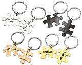 Puzzle Partner-Schlüsselanhänger mit Gravur nach Wunsch 2 Stück Set in 4 Farben (Schwarz)