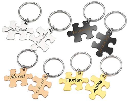 Puzzle Partner-Schlüsselanhänger mit Gravur nach Wunsch 2 Stück Set in 4 Farben (Silber)