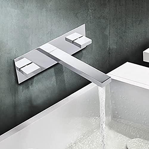 DZCGTP Grifo Mezclador de Lavabo de latón Macizo con Acabado Cromado con Placa en Grifo de baño montado en la Pared