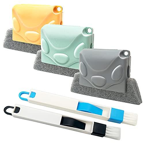 5 Piezas Cepillo de Limpieza Multifunción, Limpiador de Ranuras con Esponjas Extraíbles para, cepillos de Limpieza de riel de Puerta para Orificios de Ventana del Teclado Coche