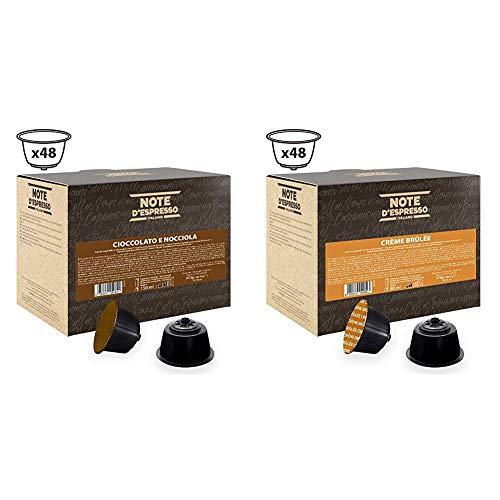 Note D'Espresso Cápsulas de Chocolate con Avellana - 48 x 14 g, Total: 672 g + Cápsulas de bebida de crème brûlée Exclusivamente Compatibles con cafeteras de cápsulas Nescafé