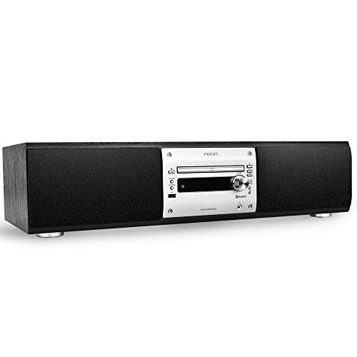 neon Hi-Fi System Stereo Player for Home, CD Player Boombox, with Remote Control, with NFC Bluetooth Headphone Jack USB FM Radio Function, HF-X50