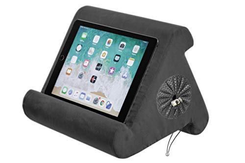 Flippy with New Storage Cubby Multi-Angle Soft Pillow Lap Stand for iPads, Tablets, eReaders, Smartphones, (Smokey)