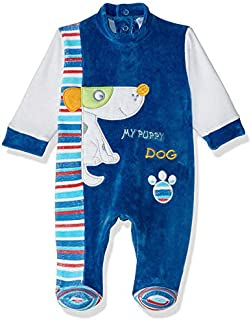 Papillon Velvet Embroidered Dog Long-Sleeve Snap-Closure Jumpsuits for Boys