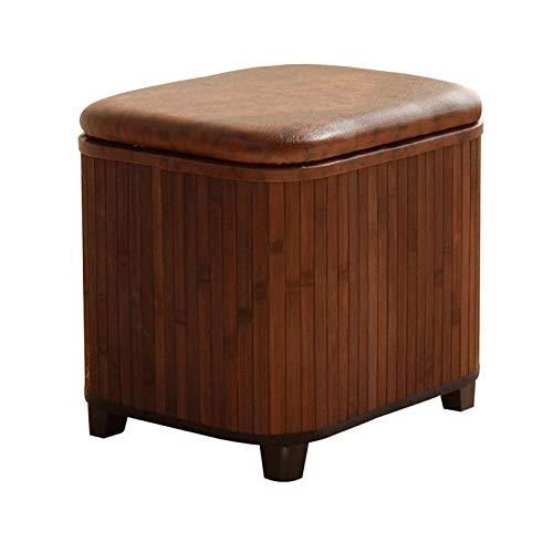 Banco zapatero LIANGLIANG, taburete de bambú, zona de entrada, banco de almacenamiento, cambio de zapatos, caja de almacenamiento, asiento acolchado de poliuretano, dormitorio