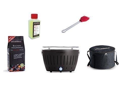 LotusGrill Barbecue Kit de démarrage 1x Lotus Barbecue Charbon de Bois de hêtre Gris Anthracite 1x 1kg, 1x Pâte Combustible 200ml, 1x Pinceau Feu Rouge, 1x Sac de Transport
