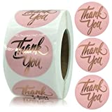 YKHENGTU Thank You Stickers, 1.5inch Rose Gold Foil Thank You Label Stickers for Small Business Owner, Business Boutiques Shop Wrapping Supplies, 500 Seal Labels Per Roll, Round
