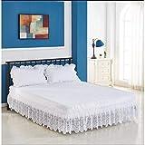 LANG ZI Encaje Falda de Cama,150/135 cm Volantes elástica Falda de Cama Bedding Ruffled Bedskirt Medidas canapé Cubre unda de somier Faldón de Volantes con (Color : C, Size : 135 * 200cm)