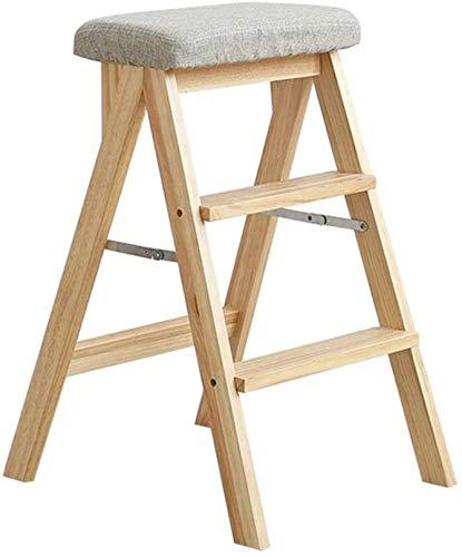 BATOWE Utilidad de Madera Paso/Las escaleras de Tijera de Madera Maciza Escalera Silla de la Escala Oficina Cocina Uso de Madera Silla Plegable se Pliegue a Pasos del Taburete Multifuncional con 3 P