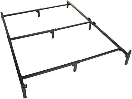 Amazon Basics 9-Leg Support Metal Bed Frame - Strong Support for Box Spring and Mattress Set - Tool-Free Easy Assembly - Queen Size Bed