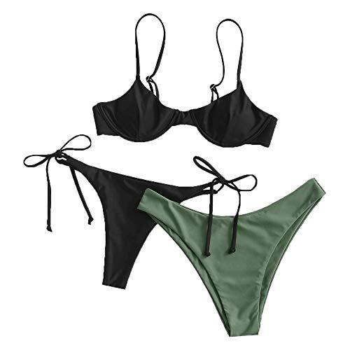 ZAFUL dames beugel push up balconet Tie Side string bikini set badpak