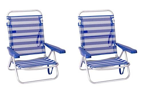 TIENDA EURASIA® Pack de 2 Sillas de Playa Plegables - Respaldo Reclinable...