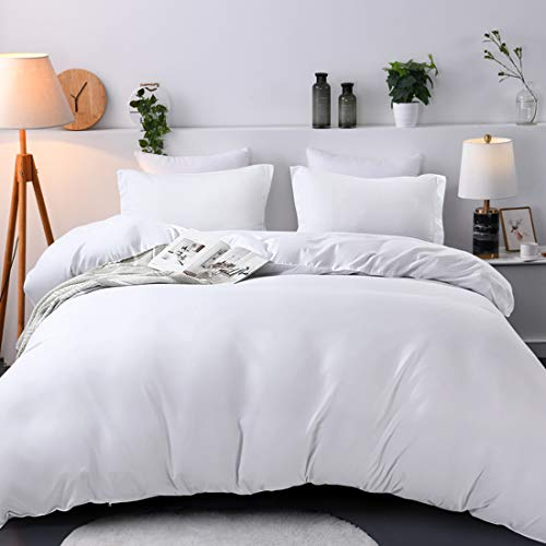 """Duvet Cover Queen, Ultra Soft Double Brushed Microfiber Hotel Bedding Collection with Zipper Closure and Corner Ties and 2 Pillow Shams, Queen (90"""" 90""""), White."""